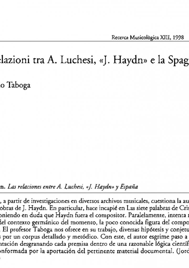 G. Taboga. La relazione tra A. Luchesi, «J. Haydn» e la Spagna